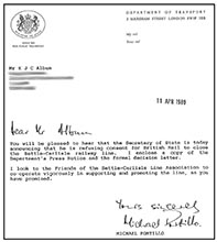 The letter from Micheal Portillo reporting the reprieve and saying that he looked to the Friends' for support in the future
