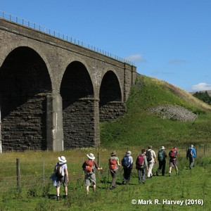Photo: Walkers passing Dandry Mire Viaduct by Mark R. Harvey.