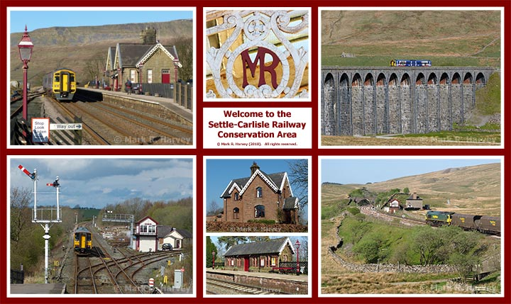 A montage of seven photographs taken within the Settle-Carlisle Railway Conservation Area (SCRCA).