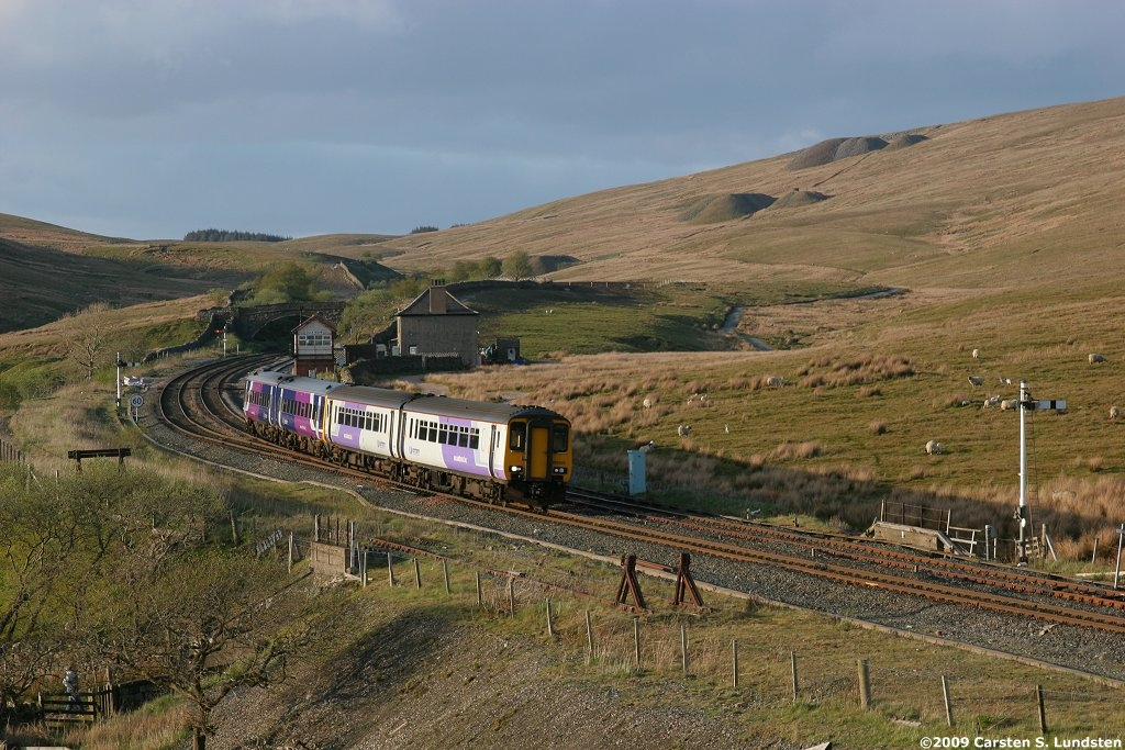 Photograph: Train passing Blea Moor Sidings.