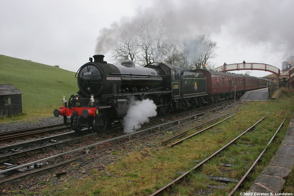 Photograph: 'Up' steam train departing from Kirkby Stephen station.